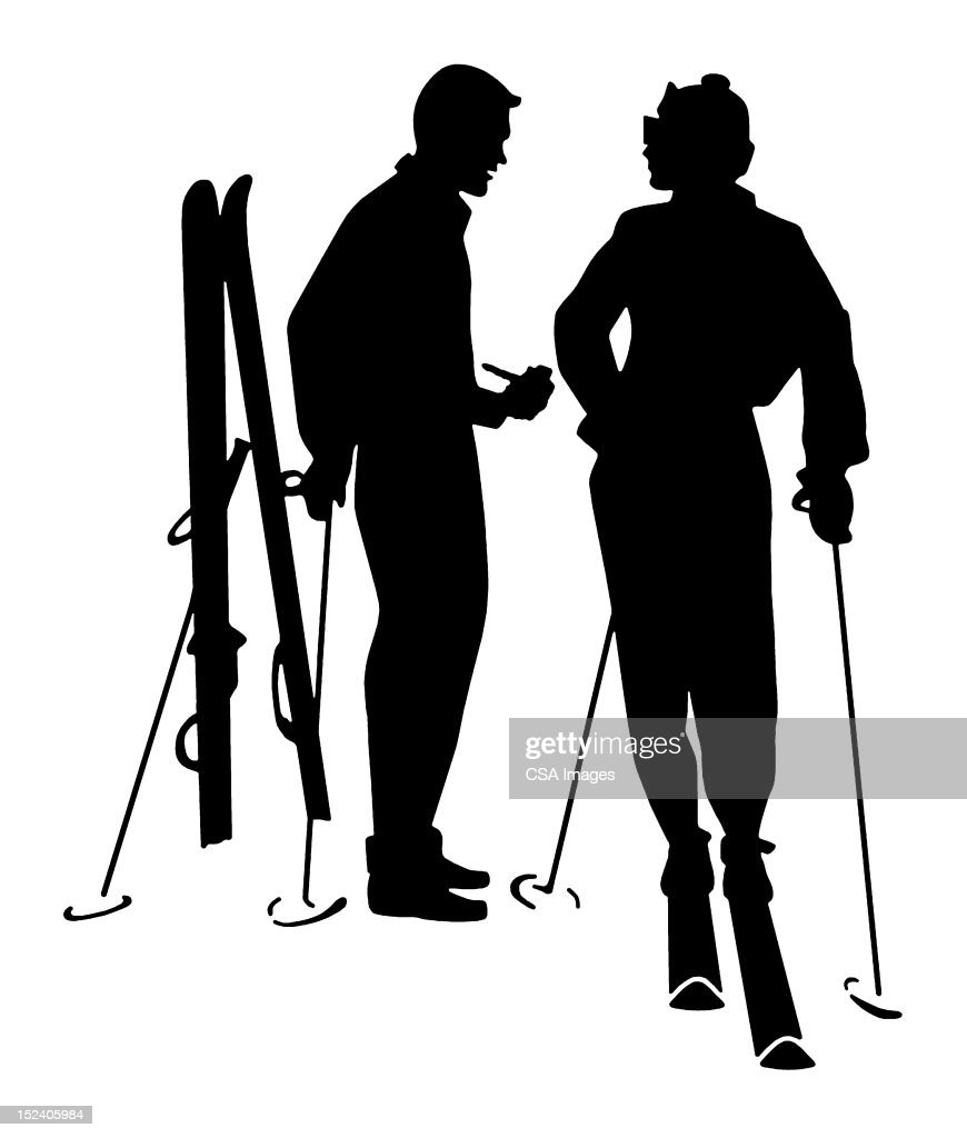 Silhouette of Man and Women Skiing : Stock Illustration