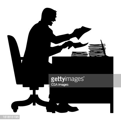 Silhouette Of Man At Desk Stock Illustration | Getty Images