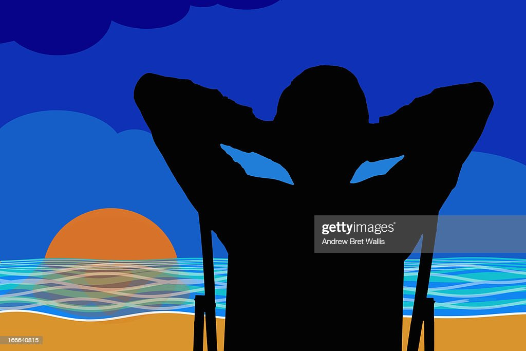 Silhouette of man relaxing on a beach at sunset : Stock Illustration