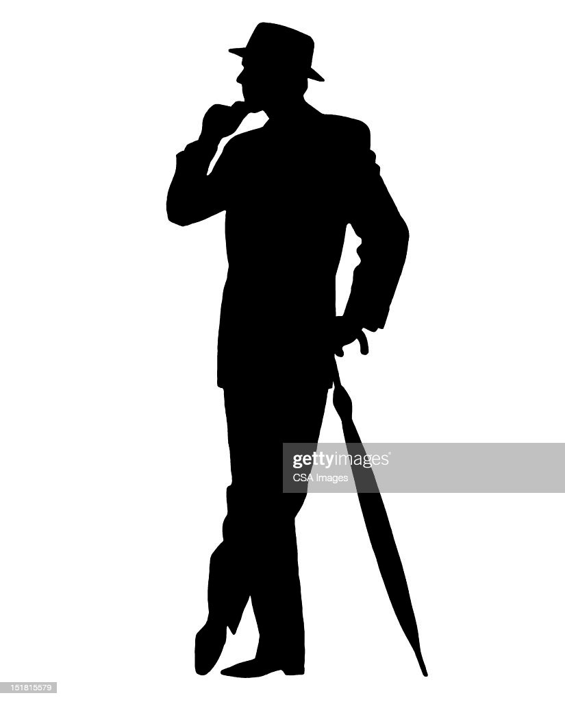 silhouette of man with umbrella stock illustration getty