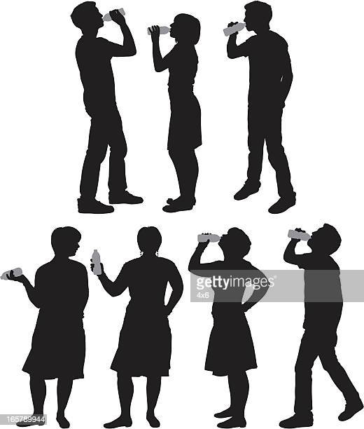 Silhouette of people drinking