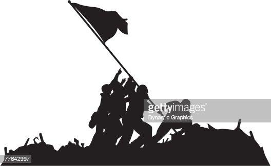 Silhouette Of Raising The Flag Over Iwo Jima Vector Art