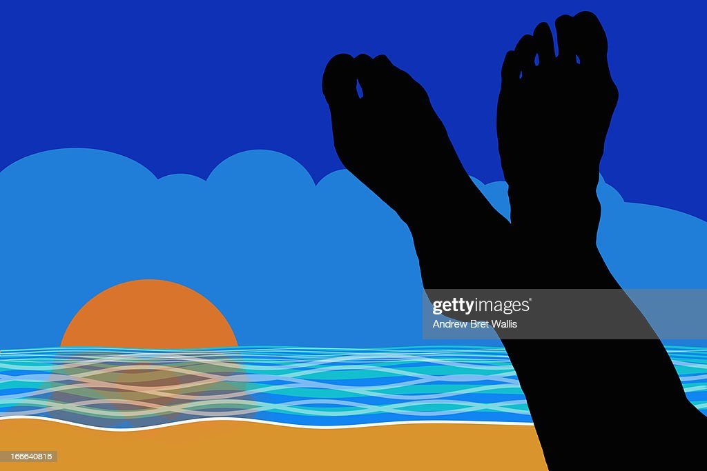 Silhouette of resting feet on a beach at sunset : Stock Illustration