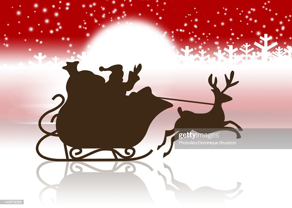 Silhouette Of Santa Clauss Sleigh And Reindeer Stock ...