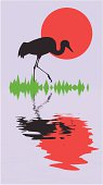 silhouette of the crane on background sun