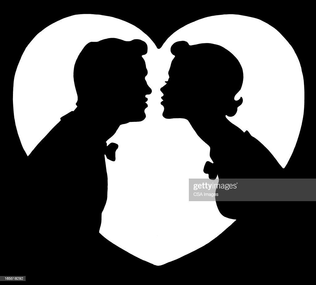 Silhueta De Duas Pessoas Beijar Ilustração de stock ...
