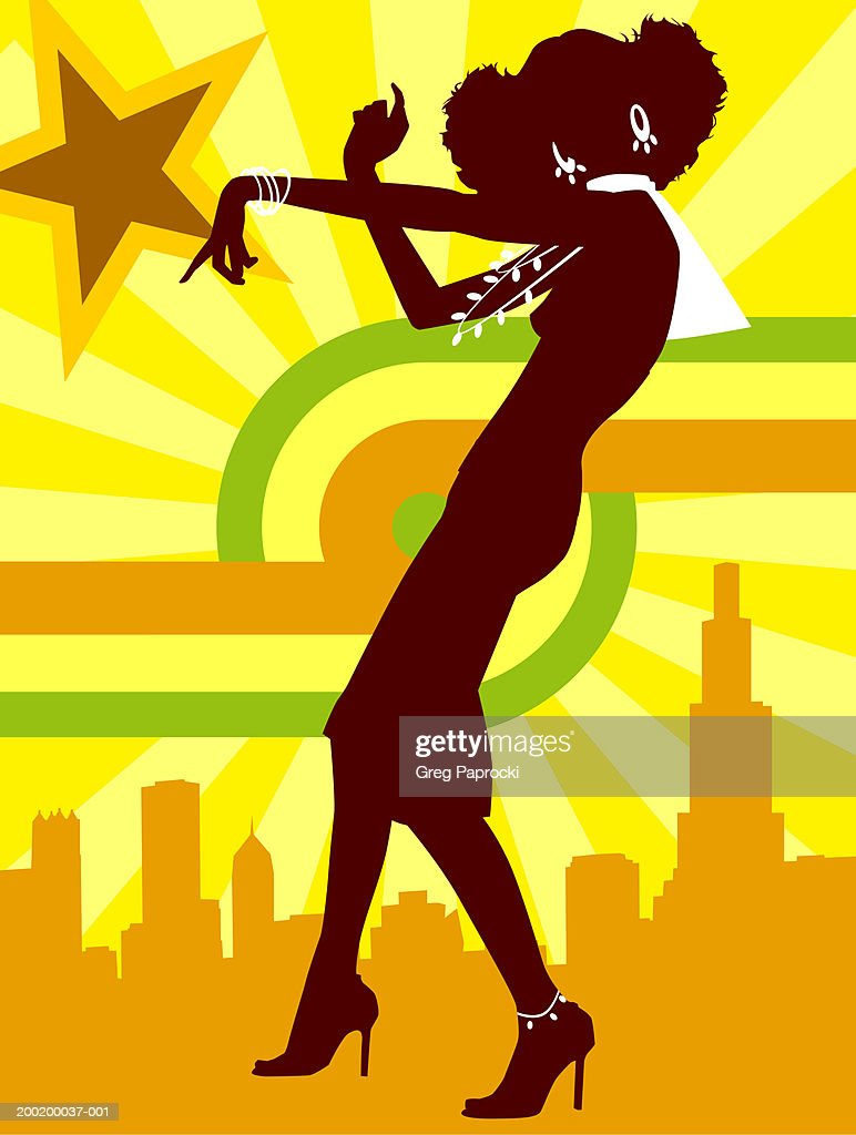Silhouette of young woman dancing, cityscape in background : Stock Illustration