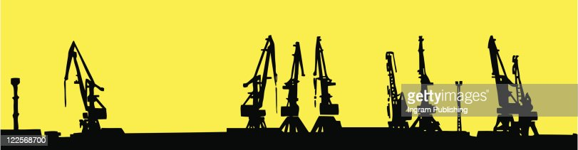 silhouette shipyard isolated on yellow background : Vector Art
