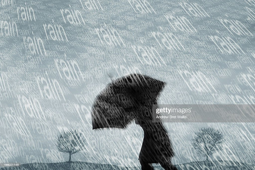 Silhouetted person caught out in torrential rain : Stock Illustration