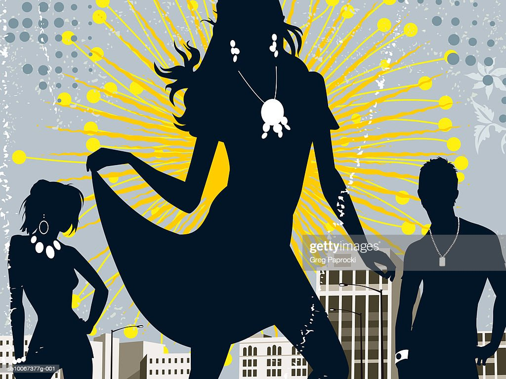 Silhouettes of people dancing at party : Stock Illustration