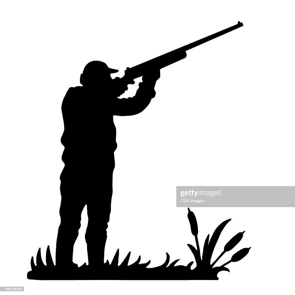 Silhouettte Of A Hunter Stock Illustration | Getty Images