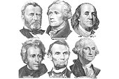 Engravings of portraits of six presidents with U.S. dollar bills