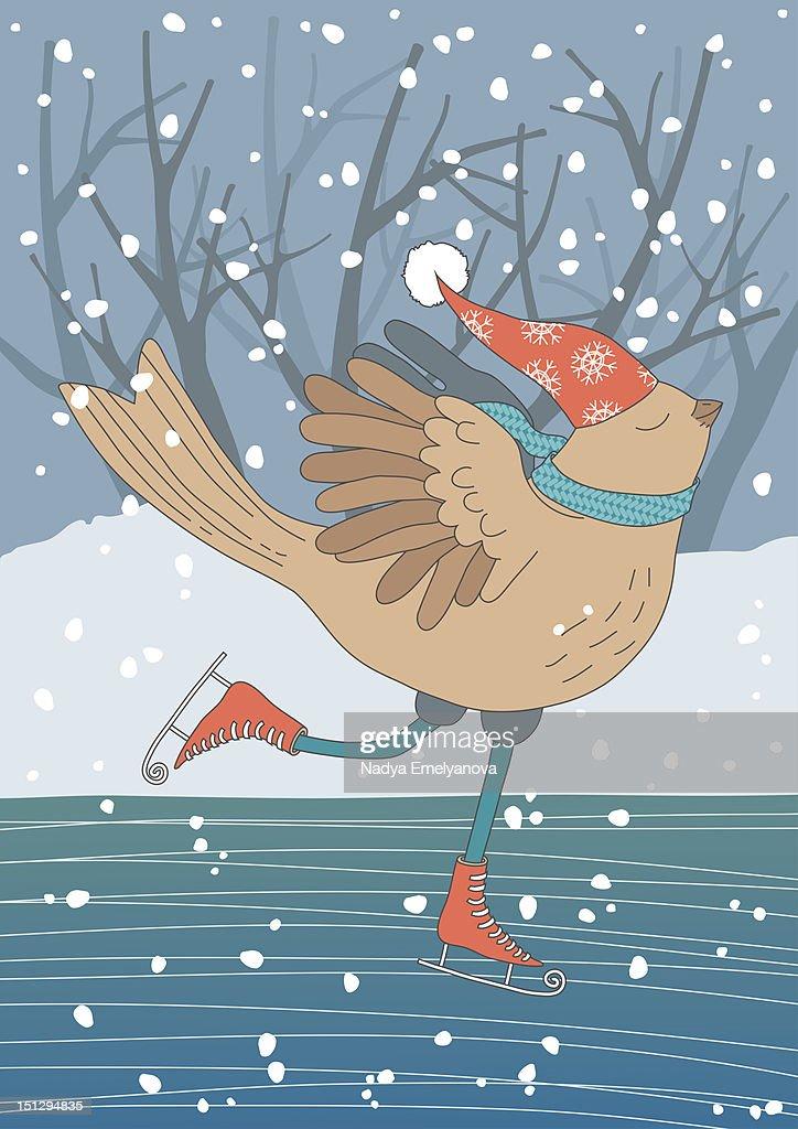 Skating bird : Stock Illustration