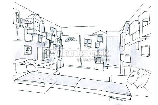 Croquis noir et blanc de la chambre pour les enfants - Croquis chambre a coucher ...