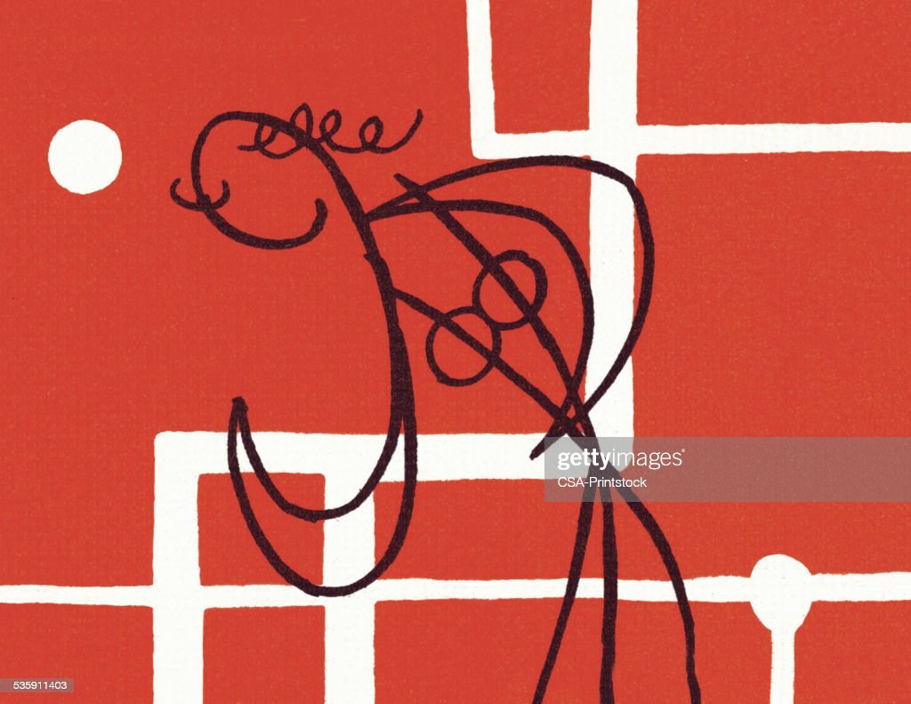 Sketch of a Person on a Red Background : Stock Illustration