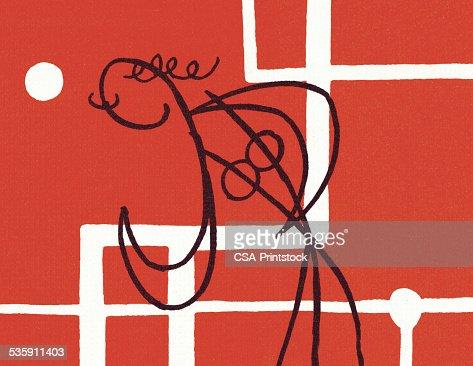 Boceto de una persona en un fondo rojo : Ilustración de stock