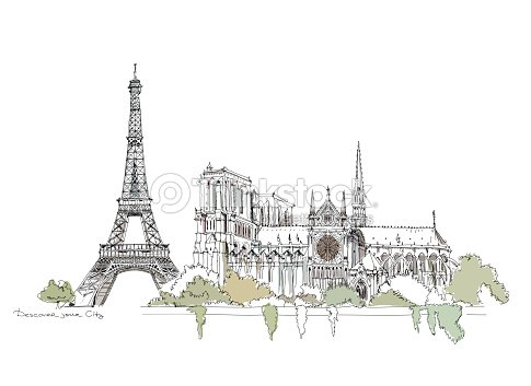 Sketch Of Famous Buildings Notre Dame Eiffel Tower In Paris Stock Illustration