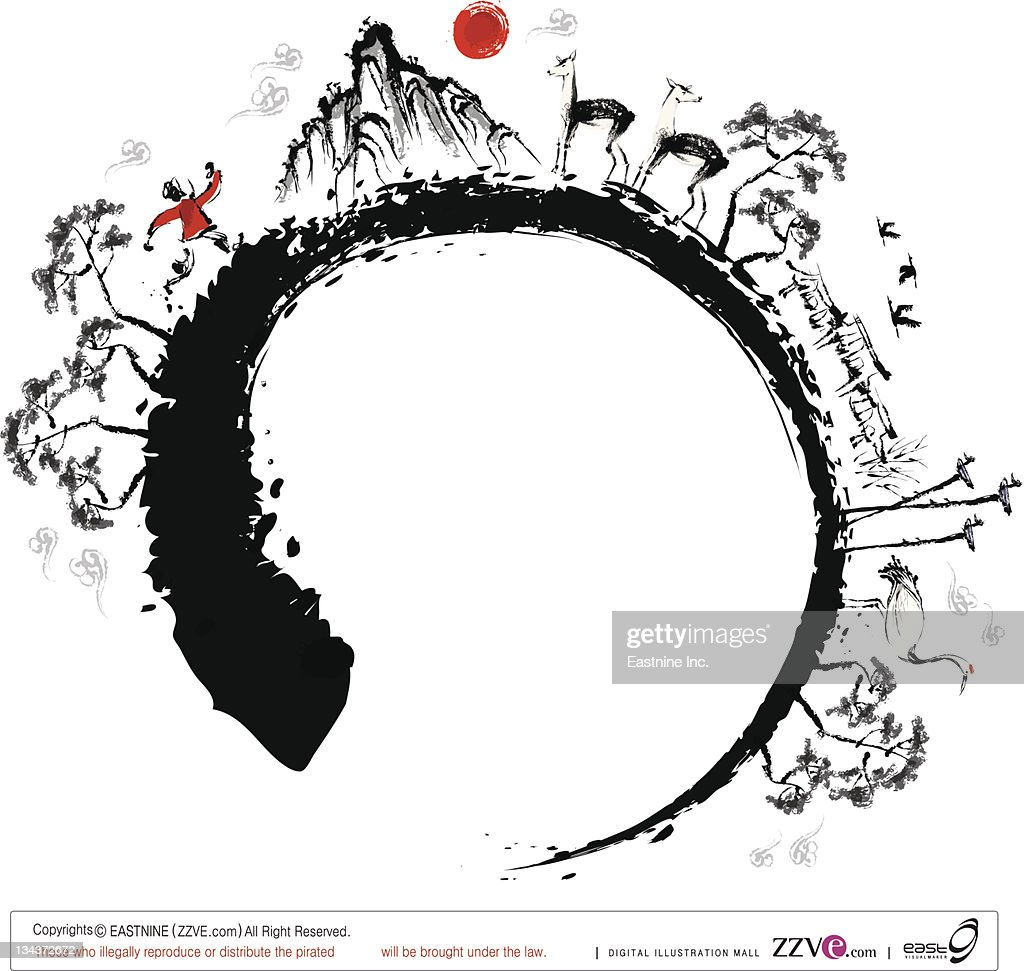 Sketch of nature in round shape and man running : Vector Art