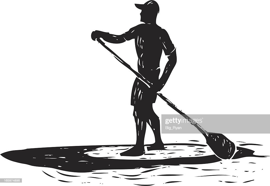 sketched stand up paddle surfer : Vector Art