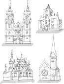 'Set of sketches of churches, Hand drawn vector illustration'