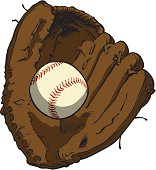 Sketch-style vector illustration of a leather baseball glove holding a baseball.