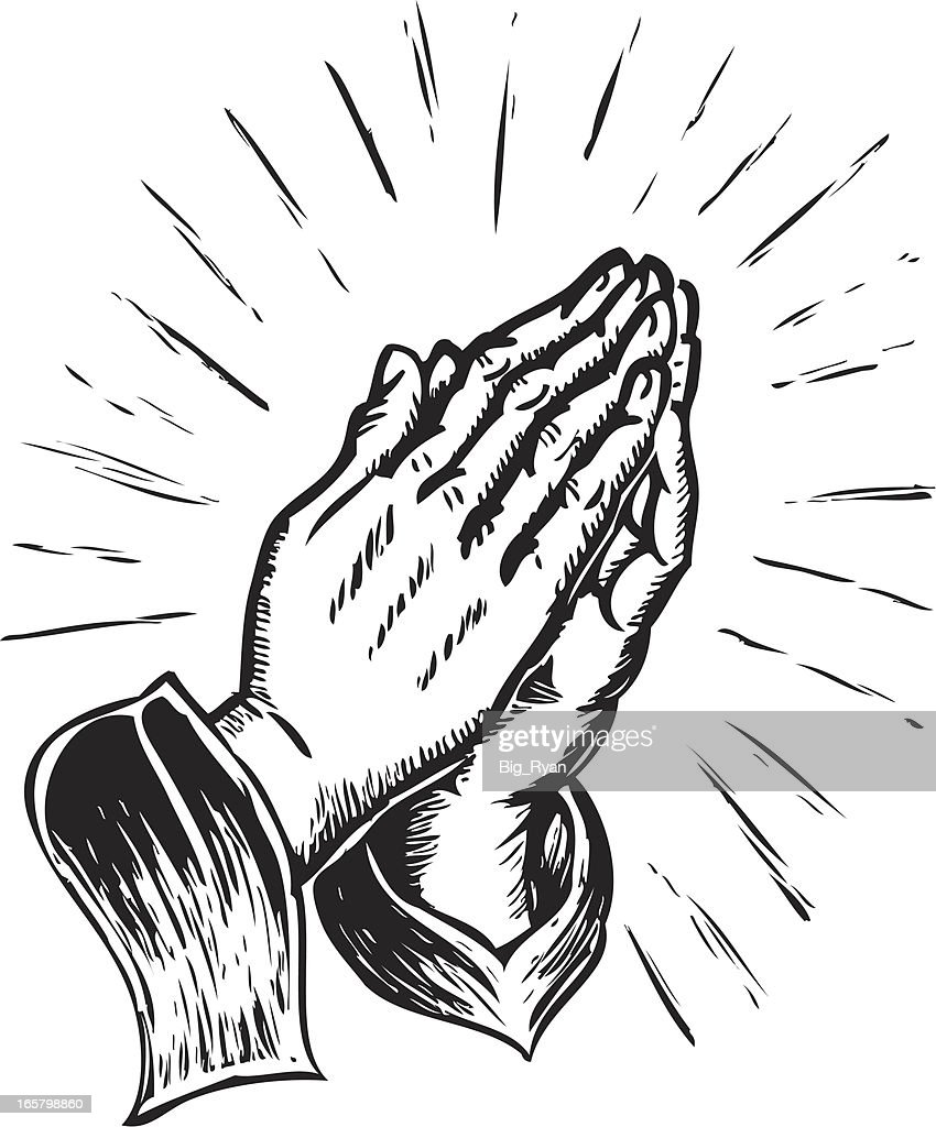 sketchy praying hands vector art getty images