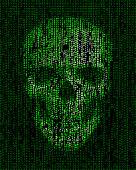 Skull made of  binary code. Hacker, cyber war symbol