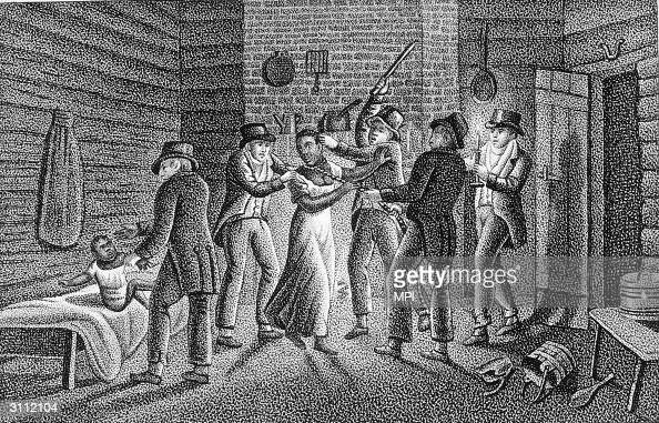 Slave catchers capture an escaped slave