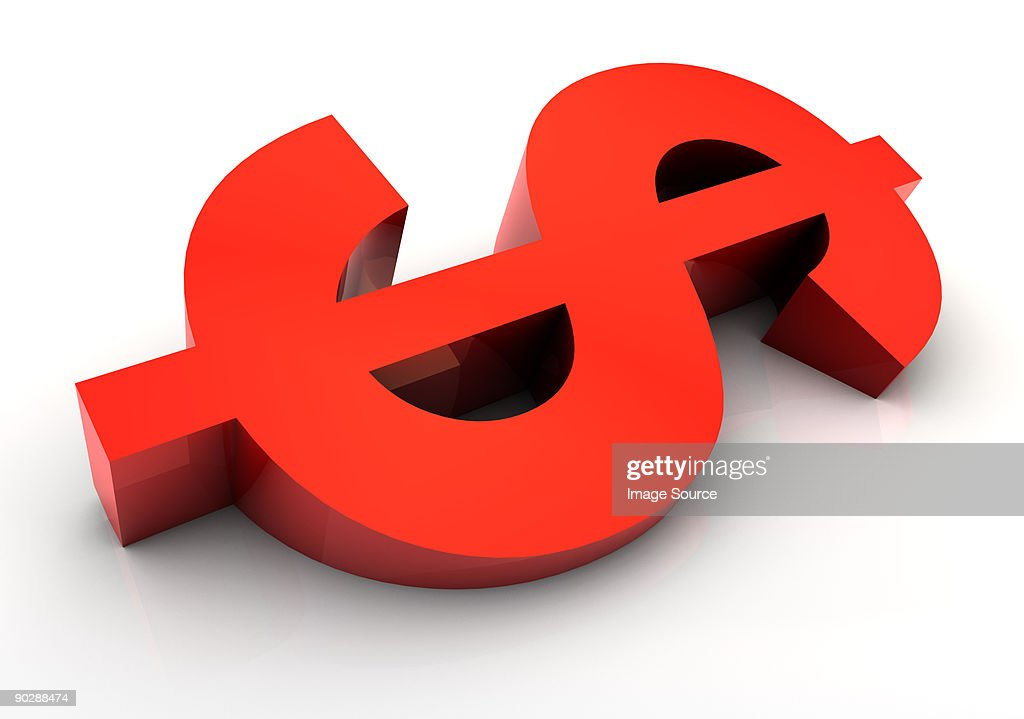 Sloping dollar sign : Stock Illustration