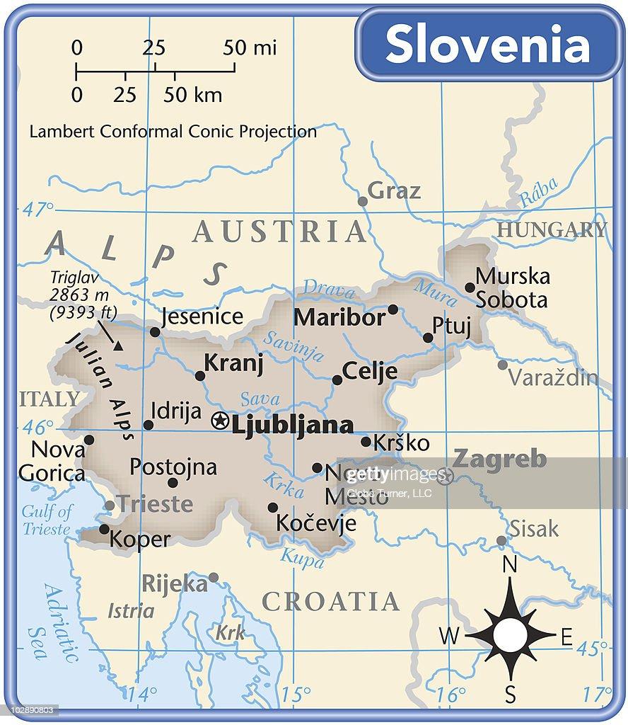 Slovenia country map : Vector Art