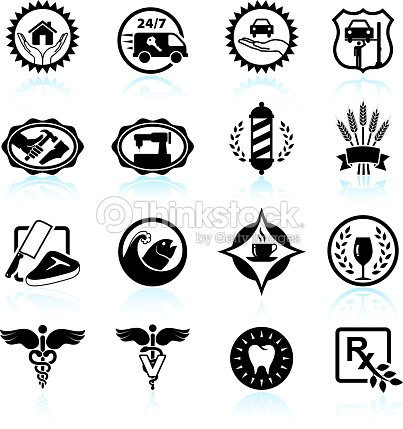 small business badges black white vector icon set vector art