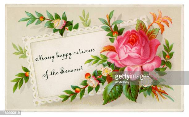 Small Victorian floral Christmas card