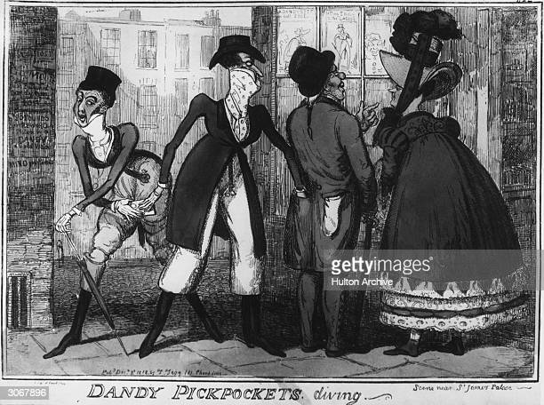 Smartly dressed pickpockets 'diving' in a street near St James' Palace London Original Artist Cruikshank