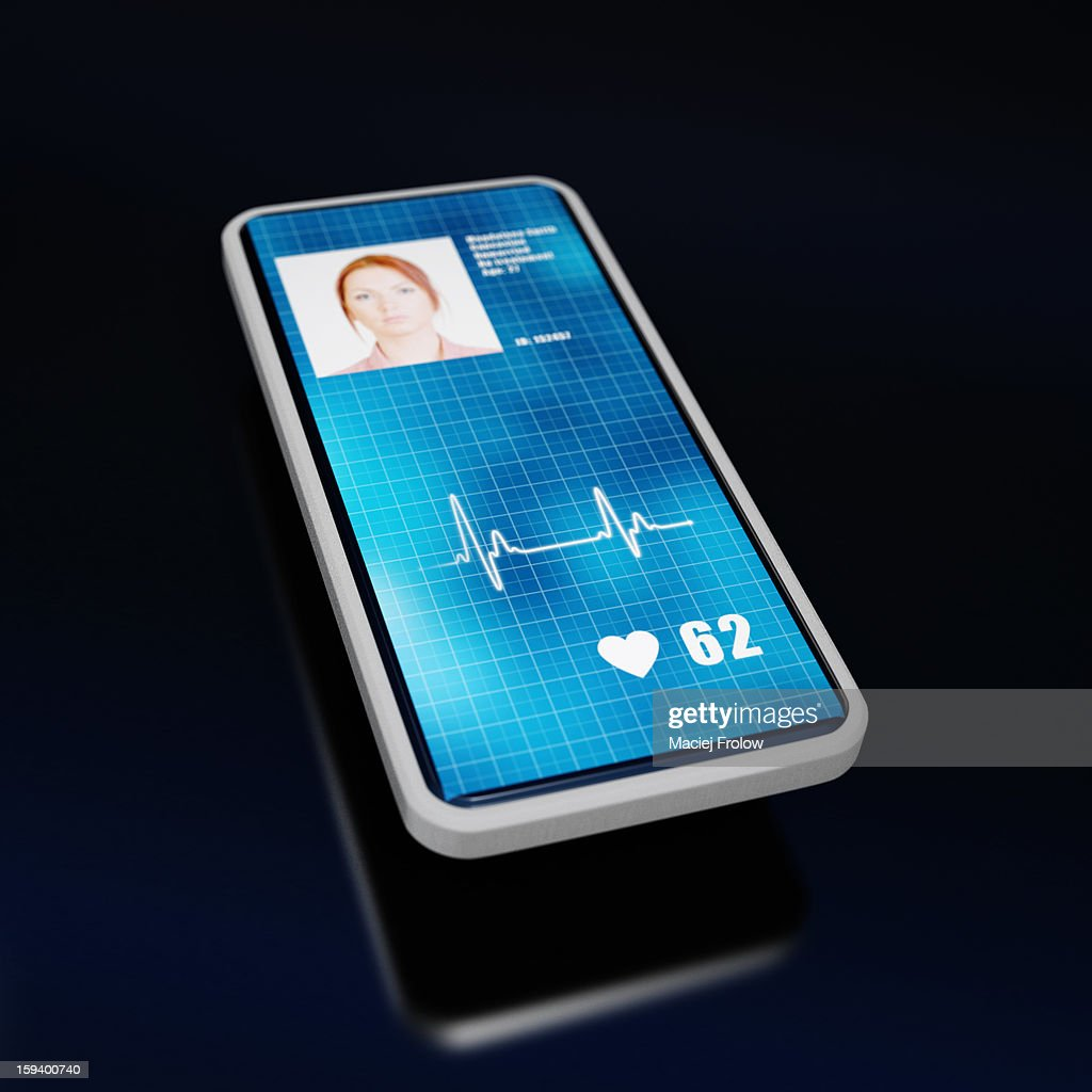 Smartphone with patients heart beat displayed : Stock Illustration