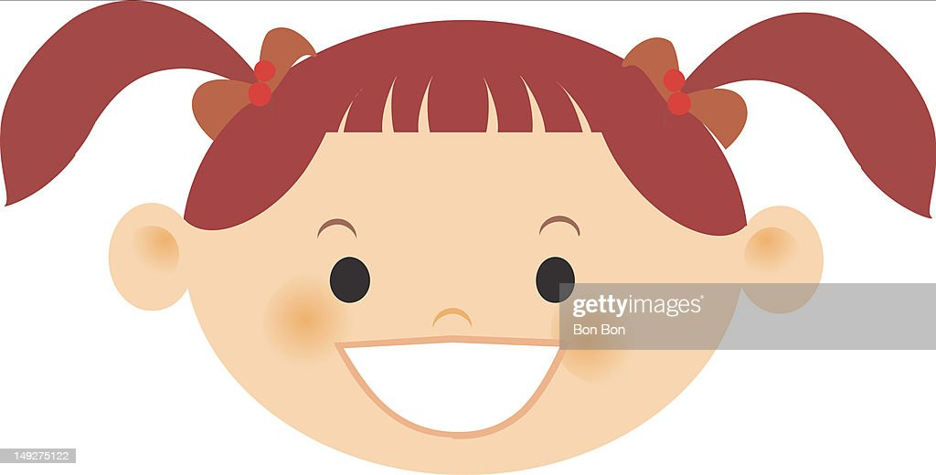 A smiling girl with red hair in pigtails : Stock Illustration