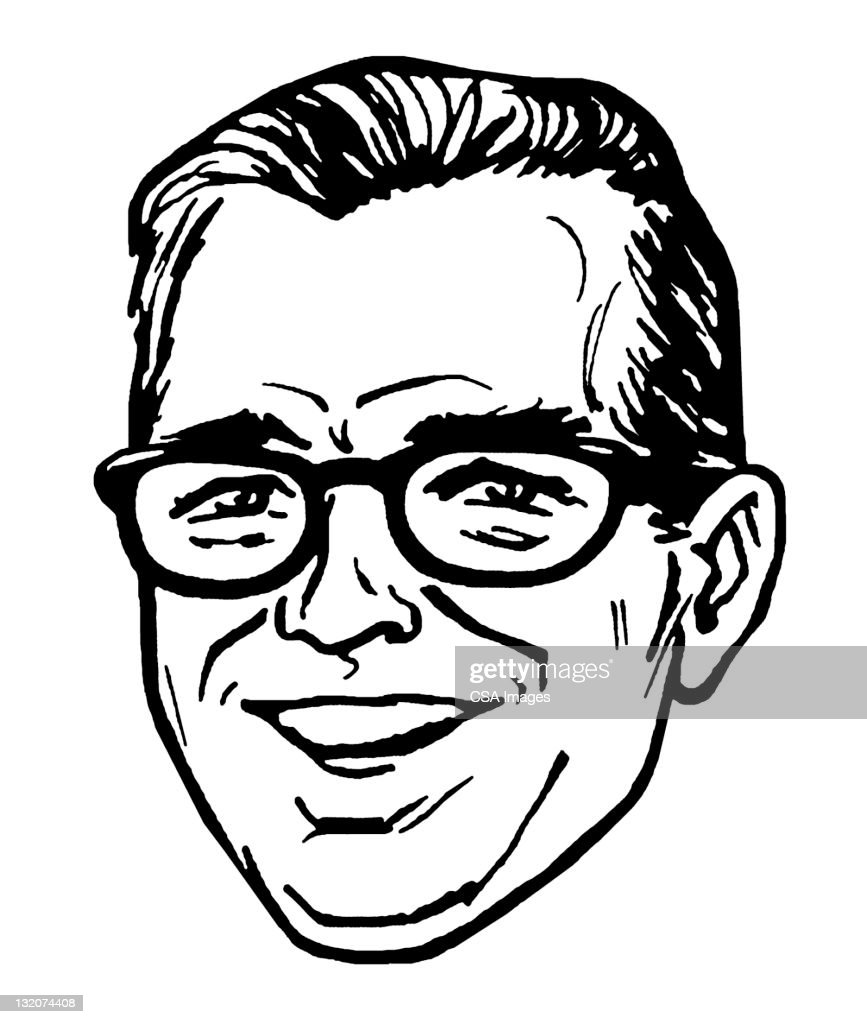 Smiling Man Wearing Glasses : Stock Illustration