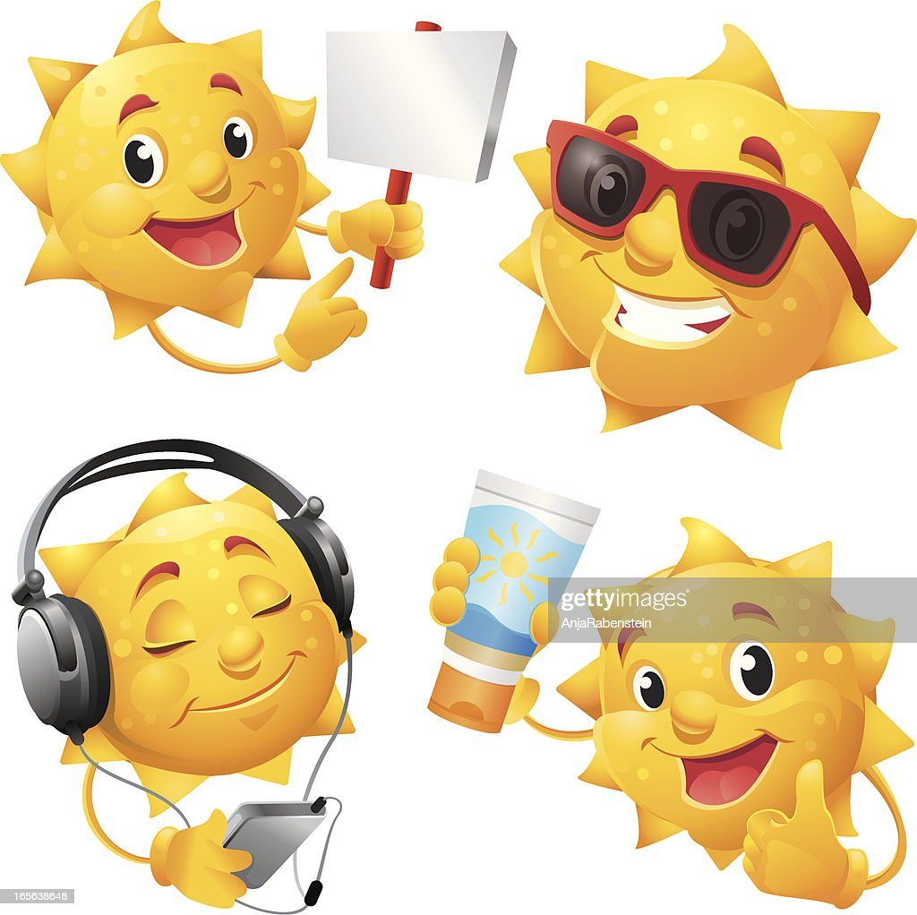Smiling sun with sunglasses - Smiling Summer Sun Cartoon Character With Cool Sunglasses Vector Art