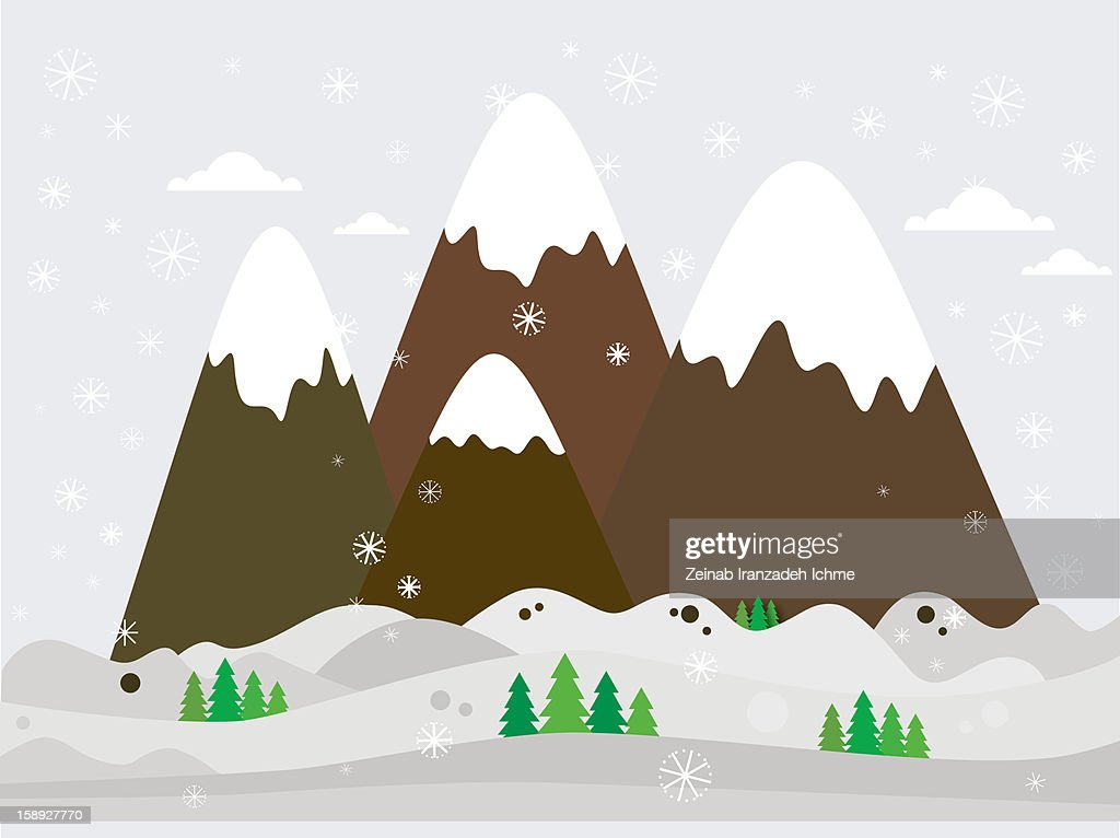 Snow capped mountains : Stock Illustration