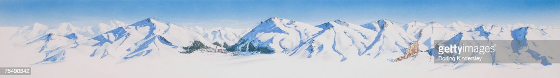 Snow-covered mountain range, panorama : Stock Illustration