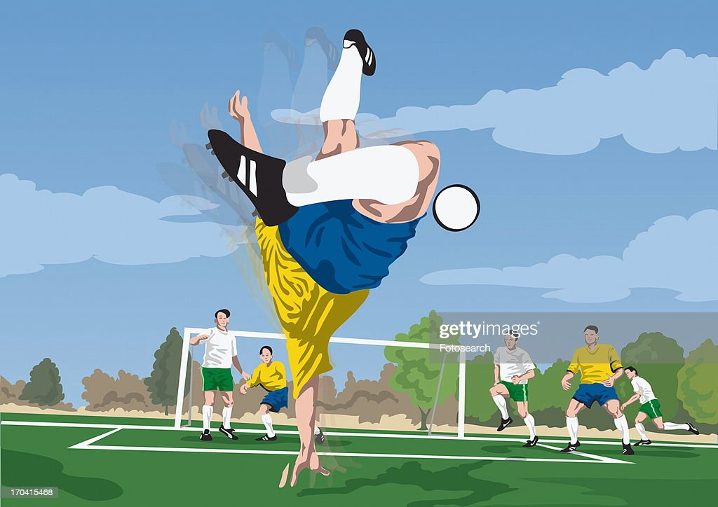 Soccer player diving for the ball : Stock Illustration