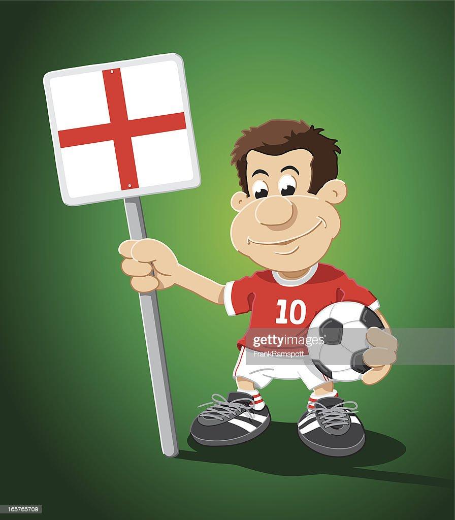 Soccer Player England Sign Cartoon Man : Vector Art