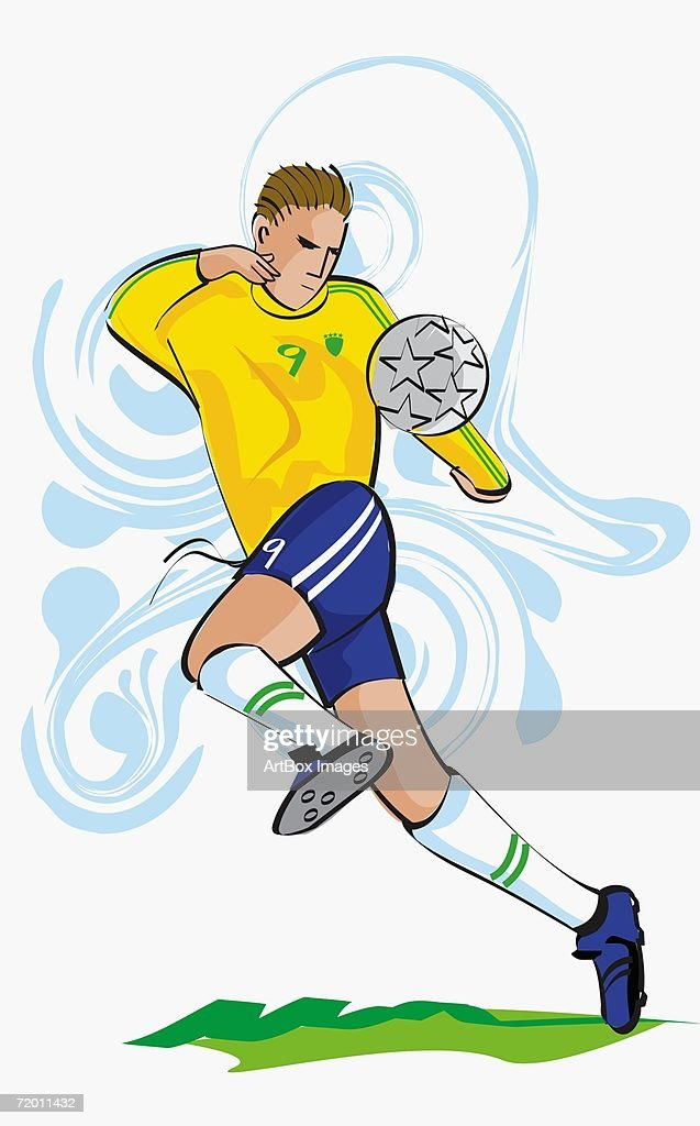 Soccer player playing soccer : Stock Illustration