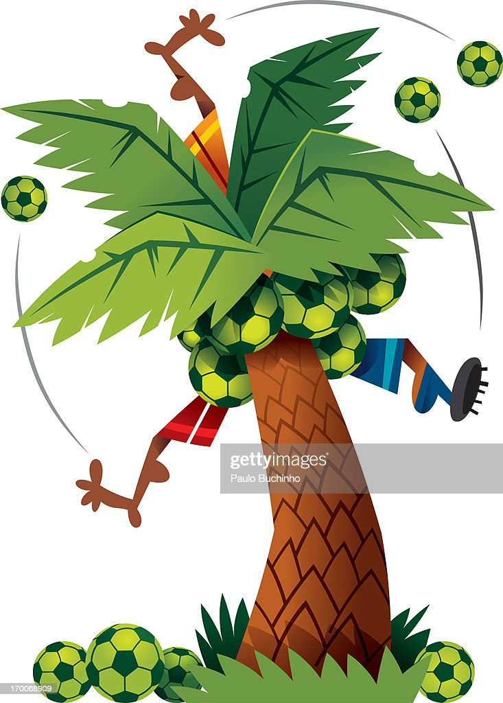 Soccer players trapped in a palm tree : Stock Illustration