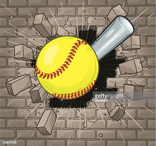 Softball Brick Wall