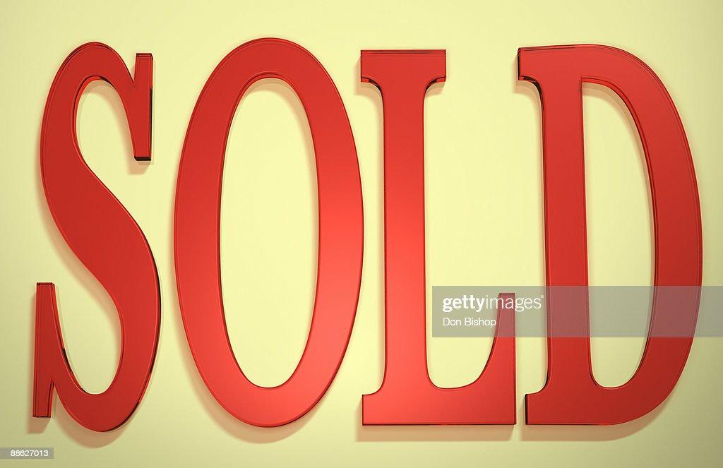 3D 'sold' sign illustration : Stock Illustration