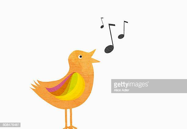 A songbird with musical notes against white background