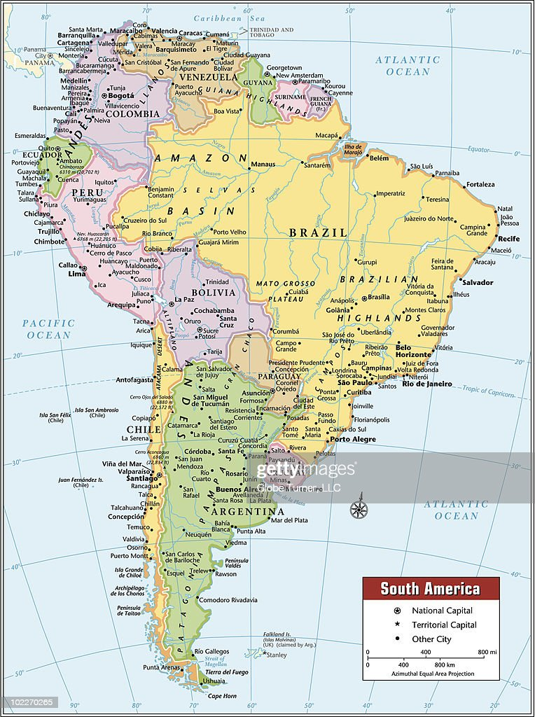 South America continent map : Vector Art