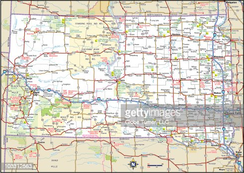 South Dakota Highway Map Vector Art  Getty Images