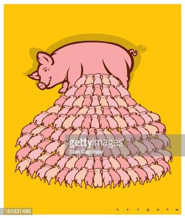 Sow nursing hundreds of piglets : Stock Illustration