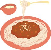 Spaghetti with meat sauce, close-up, illustration